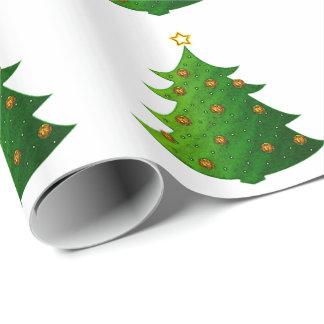 Árbol de navidad festivo papel de regalo