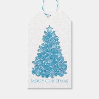 Árbol de navidad grabado en relieve del azul de la etiquetas para regalos