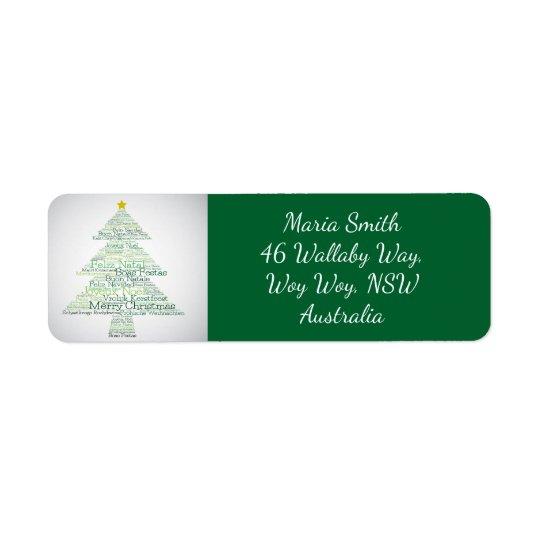 """Árbol de navidad hecho """"de las palabras de las etiquetas de remite"""