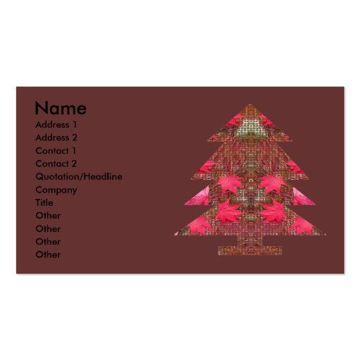 Árbol de navidad - hojas de otoño plantillas de tarjetas personales