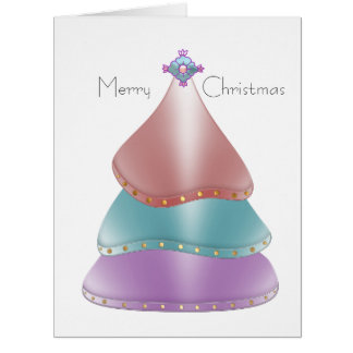 Árbol de navidad moderno brillante en colores del tarjeta de felicitación grande