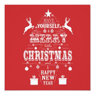 árbol de navidad moderno de la tipografía del invitación personalizada