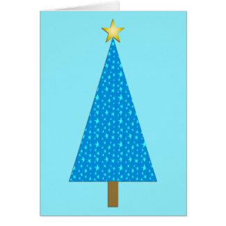 Árbol de navidad moderno de las estrellas azules tarjeta de felicitación