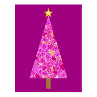 Árbol de navidad moderno floral magenta postal