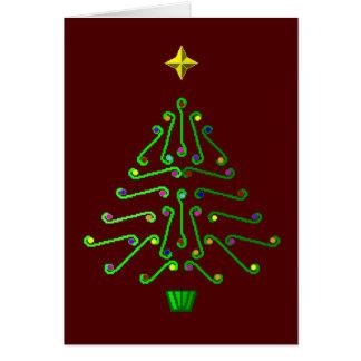 Árbol de navidad moderno inusual del arte del tarjeta de felicitación