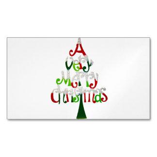 Árbol de navidad muy feliz tarjetas de visita magnéticas