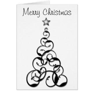 Árbol de navidad negro moderno tarjeta de felicitación