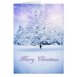 rbol de navidad nevado tarjeta de felicitacin