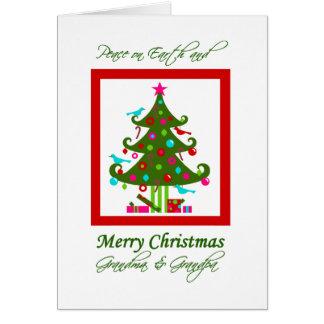 Árbol de navidad, paz en la tierra, para los abuel tarjeta de felicitación