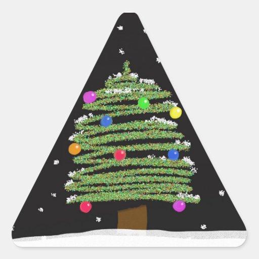 Árbol de navidad pegatina de triangulo personalizadas
