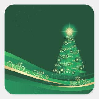 Árbol de navidad, pegatina verde del invernadero