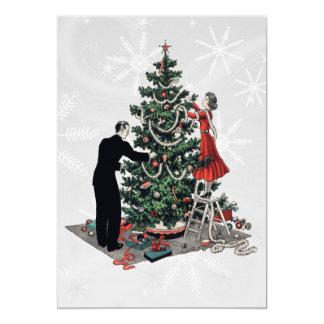 Árbol de navidad retro de los años 40 invitación 12,7 x 17,8 cm