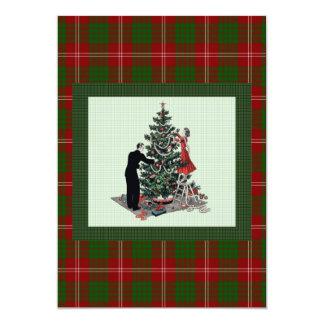 Árbol de navidad retro en la tela escocesa invitación 12,7 x 17,8 cm