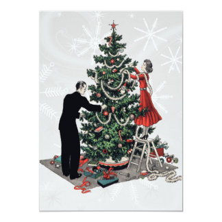 Árbol de navidad retro invitación 12,7 x 17,8 cm