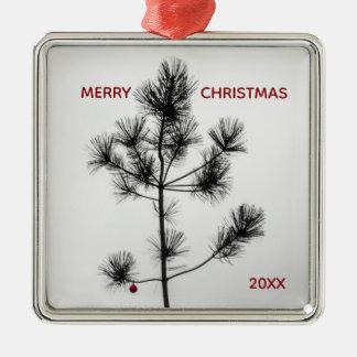 Árbol de navidad rojo del ornamento del estilo de