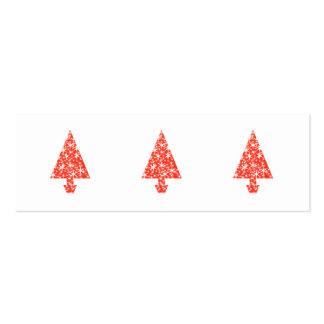 Árbol de navidad rojo en blanco tarjetas de visita mini