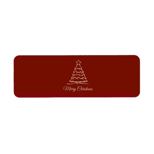 Árbol de navidad rojo etiqueta de remite