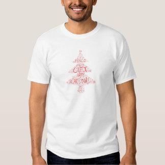 Árbol de navidad rojo y blanco de la palabra camisas