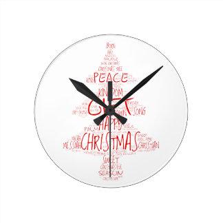 Árbol de navidad rojo y blanco de la palabra reloj redondo mediano
