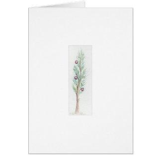 Árbol de navidad solitario (acuarela) tarjeta