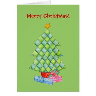 Árbol de navidad tejido tarjeta
