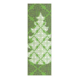 Árbol de navidad verde del modelo del damasco plantilla de tarjeta de visita
