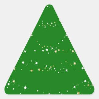 Árbol de navidad verde pegatina triangular