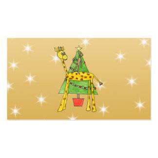 Árbol de navidad y animales tarjetas de visita