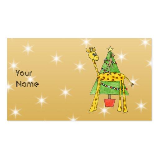 Árbol de navidad y animales plantilla de tarjeta personal