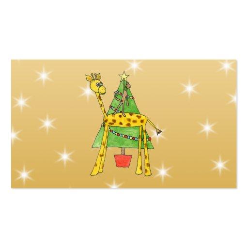 Árbol de navidad y animales plantilla de tarjeta de negocio