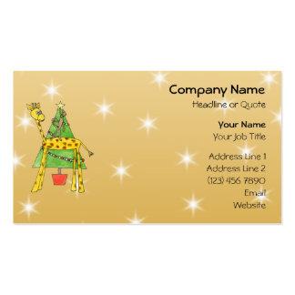 Árbol de navidad y animales tarjetas de negocios