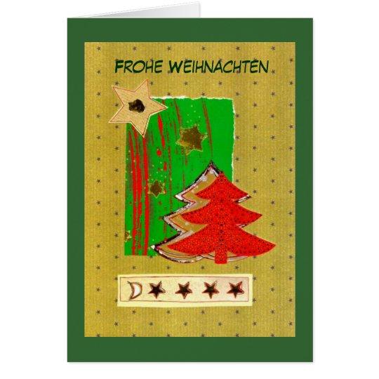 Árbol de navidad y estrellas modernas en verdes de tarjeta de felicitación