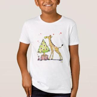 Árbol de navidad y jirafa - navidad festivo camiseta