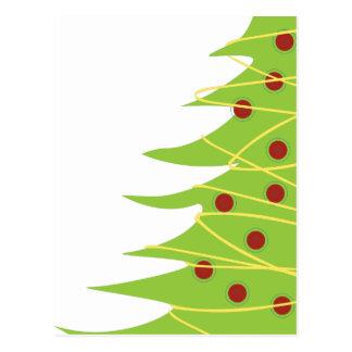 Árbol de navidad y luces modernos postal