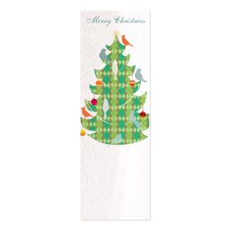 Árbol de navidad y pájaros del modelo de la tela e plantillas de tarjeta de negocio