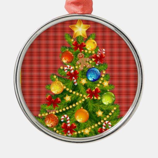 Rbol de navidad y tela escocesa roja adorno redondo - Arbol de navidad de tela ...
