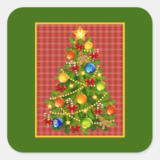 Rbol de navidad y tela escocesa roja pegatina cuadrada - Arbol de navidad de tela ...