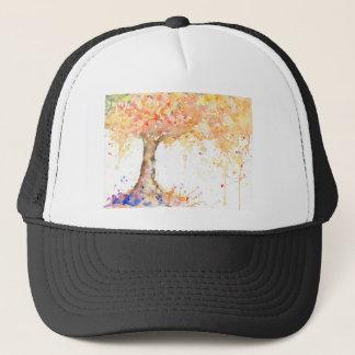 Árbol de oro abstracto de la acuarela gorra de camionero