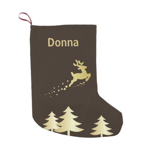 Árbol de oro con el reno - almacenamiento del calcetín de navidad pequeño