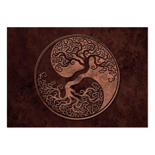 Árbol de piedra de Brown Yin Yang Tarjeta De Visita