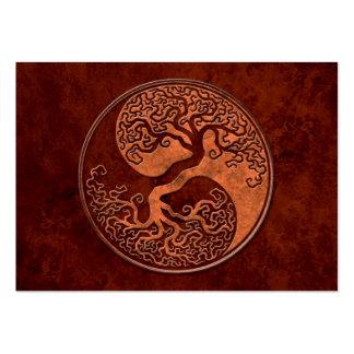 Árbol de piedra rojo de Yin Yang Tarjeta De Negocio