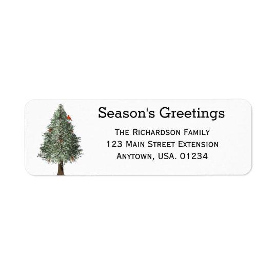 Árbol de pino con navidad rústico cardinal etiqueta de remite