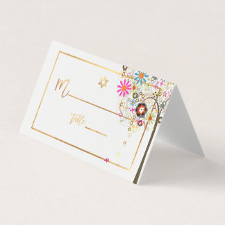 Árbol de PixDezines de la vida+Floral+Falso oro Tarjeta De Asiento