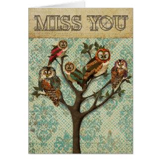 Árbol de Srta. You Card de los búhos Tarjeta De Felicitación