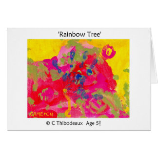 Árbol del arco iris tarjeta de felicitación