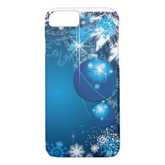 Árbol del azul del ornamento de los copos de nieve funda iPhone 7