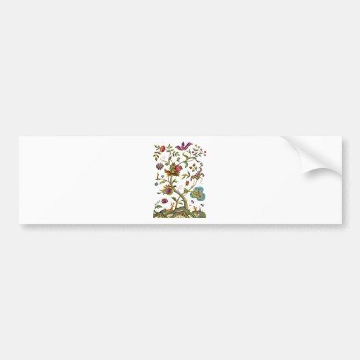 Árbol del bordado jacobeo de la vida etiqueta de parachoque