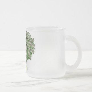 Árbol del dinero taza de cristal esmerilado