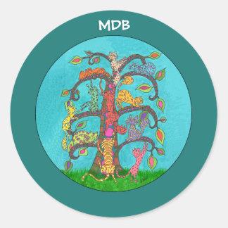 Árbol del gato del monograma del personalizado de pegatina redonda