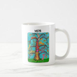 Árbol del gato del monograma del personalizado de taza de café
